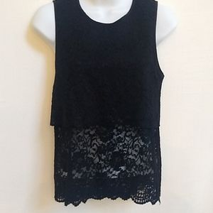Rebecca Minkoff Tiered Rose Lace Top S